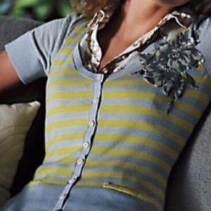 Anthropologie Short-Sleeve Floral Cardigan